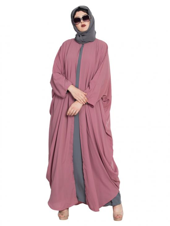 Nida Mate Designer Kaftan With Inner Abaya in Puce Pink and Grey