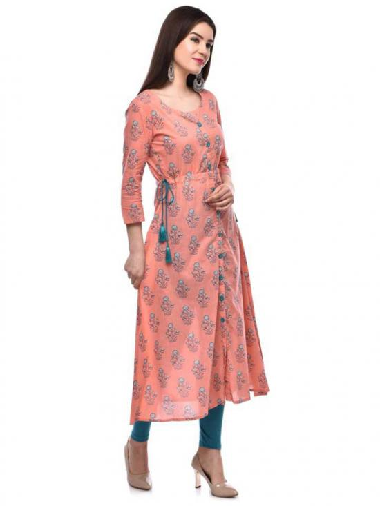 Glam Roots Cotton Printed Blend A-line Kurta in Peach