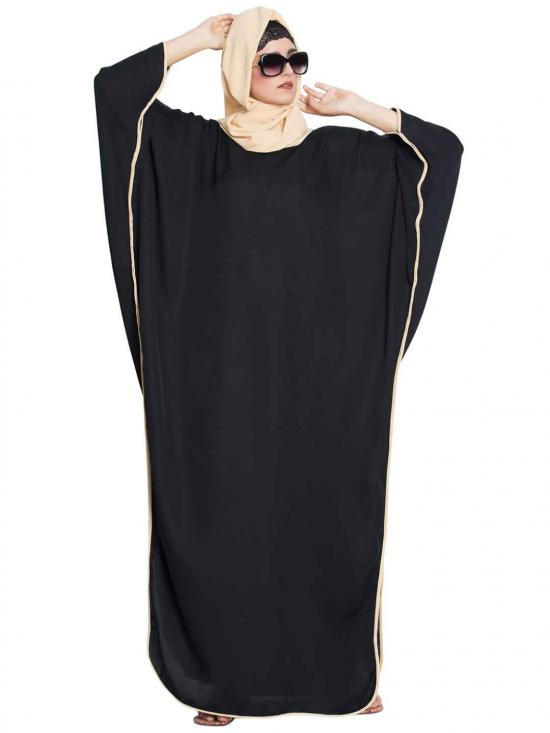 Rich Nida Haifa Elegant Kaftan Abaya With Side Slits in Black and Fawn