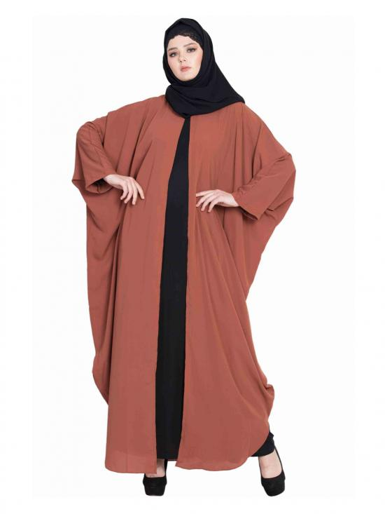 Nida Mate Designer Kaftan With Inner Abaya in Rust and Black