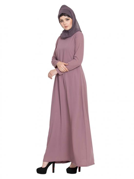 Nida Matte Simple A line Abaya With Side Pockets in Puce Pink