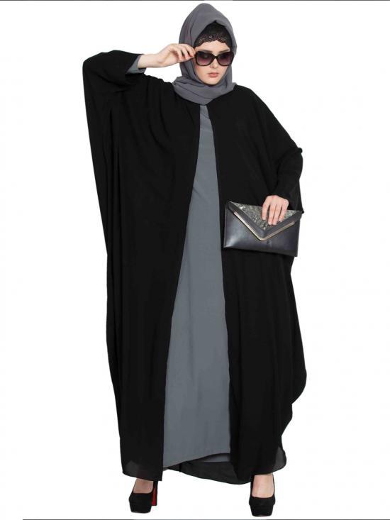 Nida Mate Designer Kaftan With Inner Abaya In Black And Grey