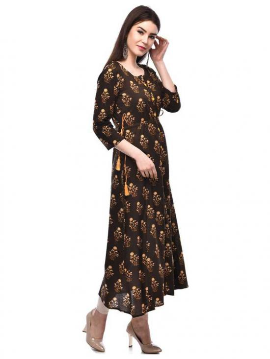 Glam Roots Cotton Printed Blend A-line Kurta in Brown
