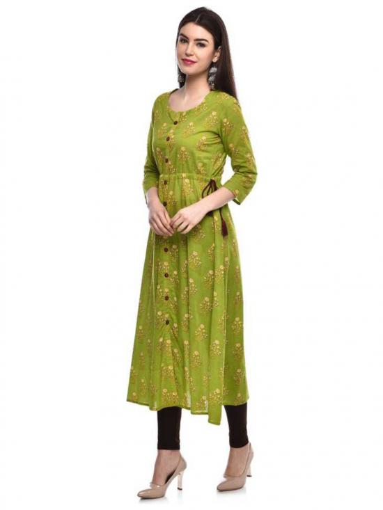 Glam Roots Cotton Printed Blend A-line Kurta in Green