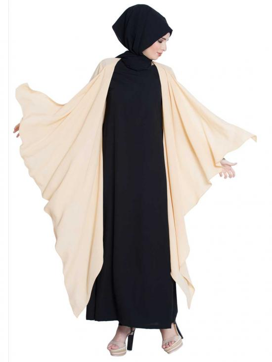 Nida Matte Full Sleeves Shrug And Abaya Combo In Fawn And Black