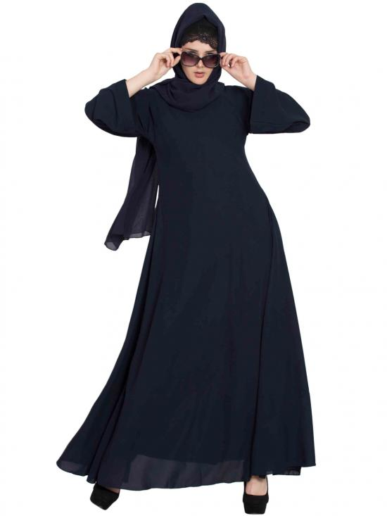 Nida Matte Umbrella Cut Abaya in Navy Blue
