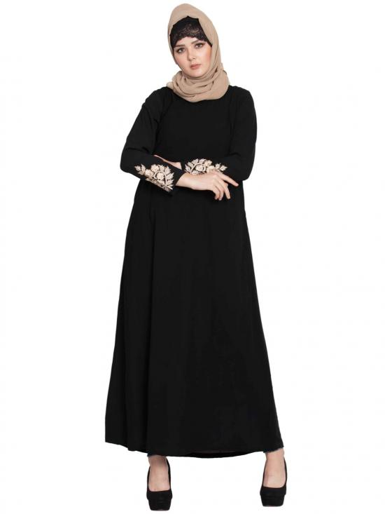 Nida Matte A-line Abaya With Embroidery On Sleeves In Black