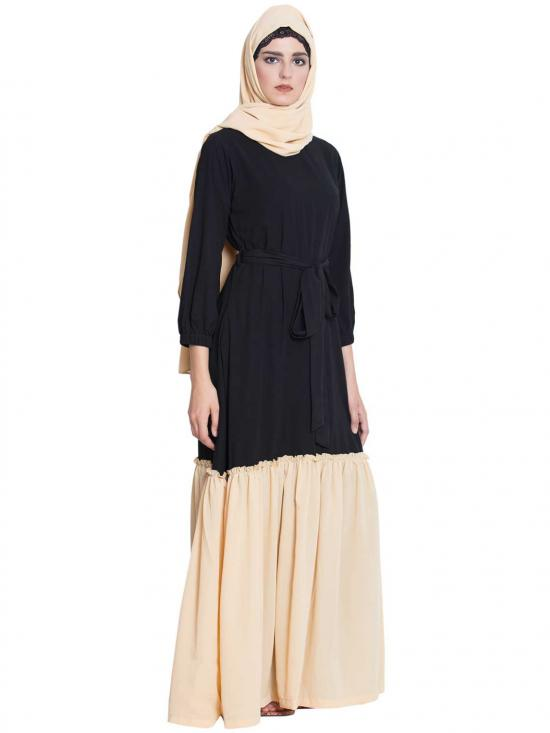 Nida Matte Falak Dual Colour Abaya in Black and Fawn