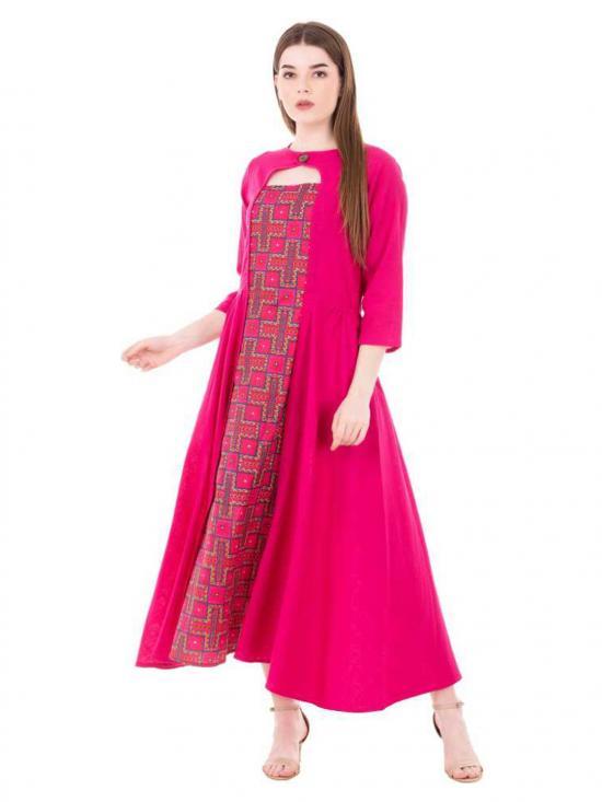 Aania Printed Pure Cotton Flared Kurti In Pink