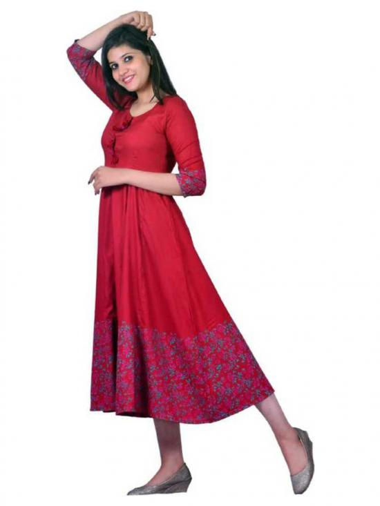 Jeevankala Printed Cotton Rayon Blend Asymmetric Kurti In Red