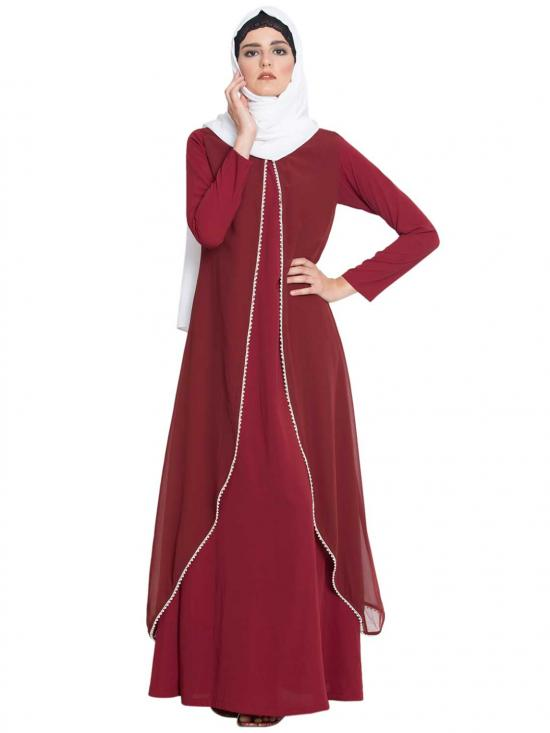 Nida Matte Ada Abaya With A Georgette Jacket With Pearl Lace in Maroon