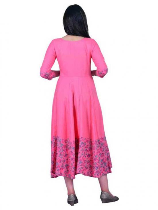 Jeevankala Printed Cotton Rayon Blend Asymmetric Kurti In Pink