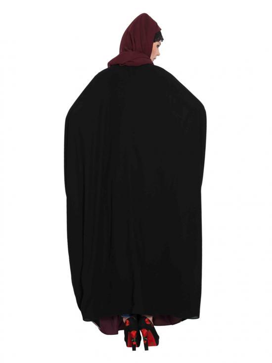 Nida Matte Dual Colour Kaftan in Black and Wine