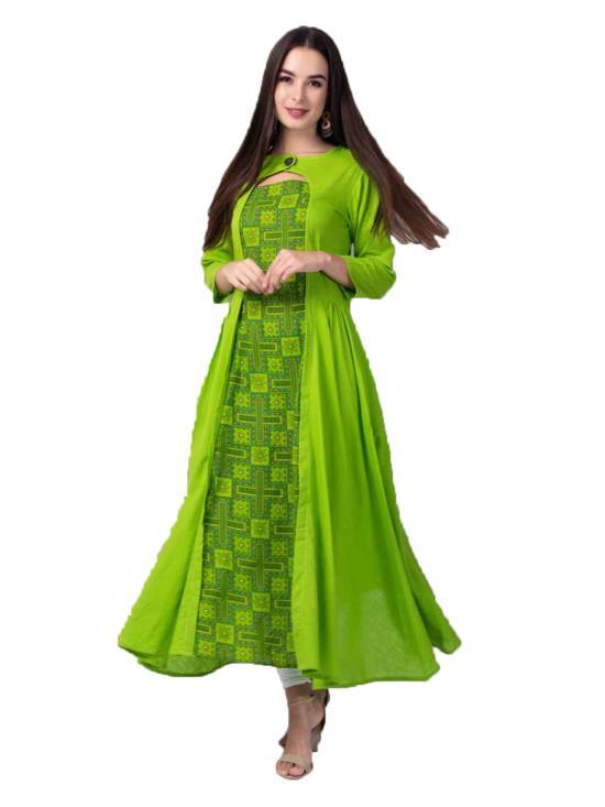 Aania Printed Pure Cotton Flared Kurti In Light Green