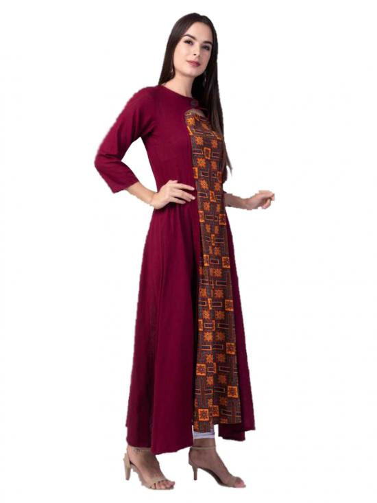 Aania Printed Pure Cotton Flared Kurti In Maroon