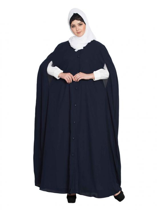Nida Matte Front Open Cape With Inner Abaya In Navy Blue And Off White