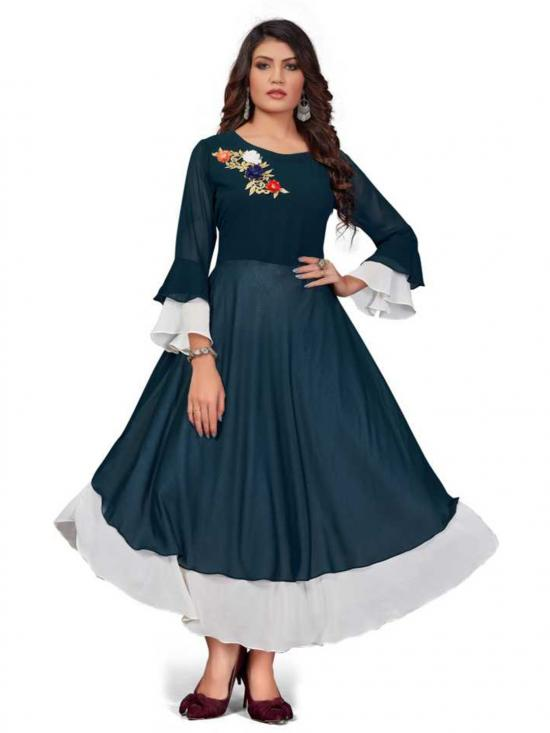 Rebikatrendz Embellished pure Georgette Anarkali Kurti In Light Blue