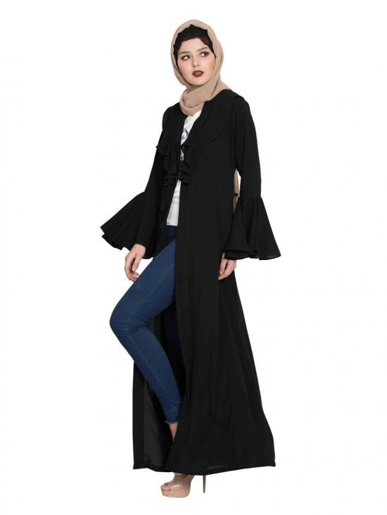 Nida Matte Cardigan Abaya Jacket with Frills and Bell Sleeves in Black