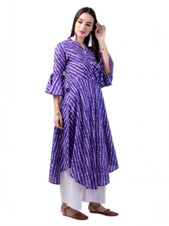 Aania Striped Pure Cotton Flared Kurti In Purple