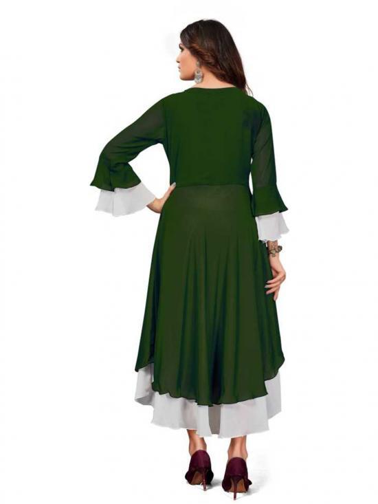 Rebikatrendz Embellished pure Georgette Anarkali Kurti In Green