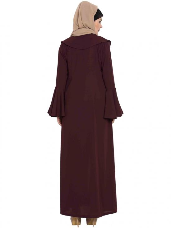 Nida Matte Cardigan Abaya Jacket with Frills and Bell Sleeves in Wine