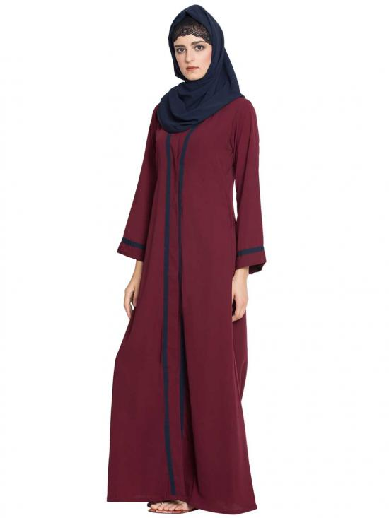 Nida Matte Tanvi Simple Front Open Abaya With Contrast On Panel And Sleeves in Maroon
