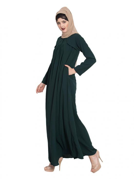 Nida Matte Simple Elegant Abaya in Bottle Green