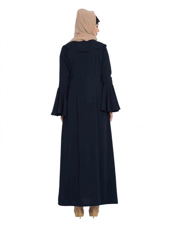 Nida Matte Cardigan Abaya Jacket with Frills and Bell Sleeves in Navy Blue