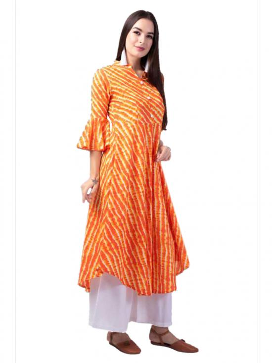 Aania Striped Pure Cotton A-Line Kurti In Orange