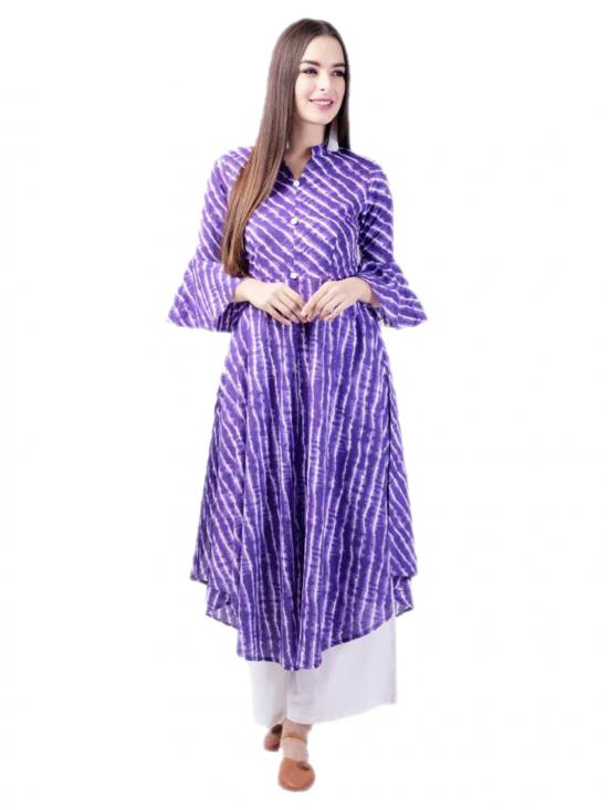 Aania Striped Pure Cotton Flared Kurti In Purple