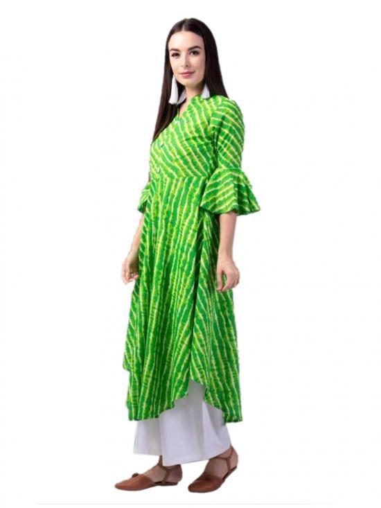 Aania Striped Pure Cotton Flared Kurti In Green
