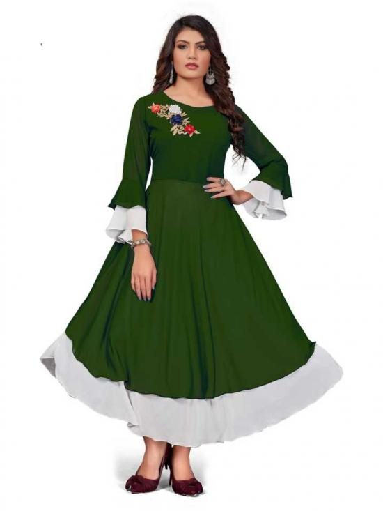Rebikatrendz Embellished pure Georgette Anarkali Kurti In Green