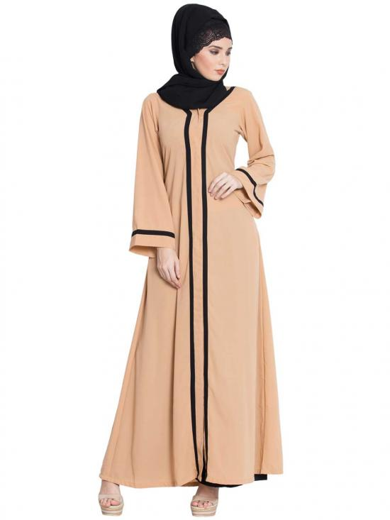 Nida Matte Tanvi Simple Front Open Abaya With Contrast On Panel And Sleeves in Sand