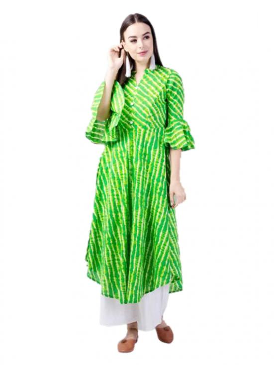 Aania Striped Pure Cotton Flared Kurti In Green
