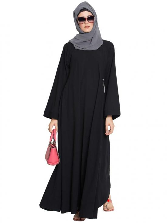 Nida Matte Umbrella Flare Abaya with Biased Cut in Black