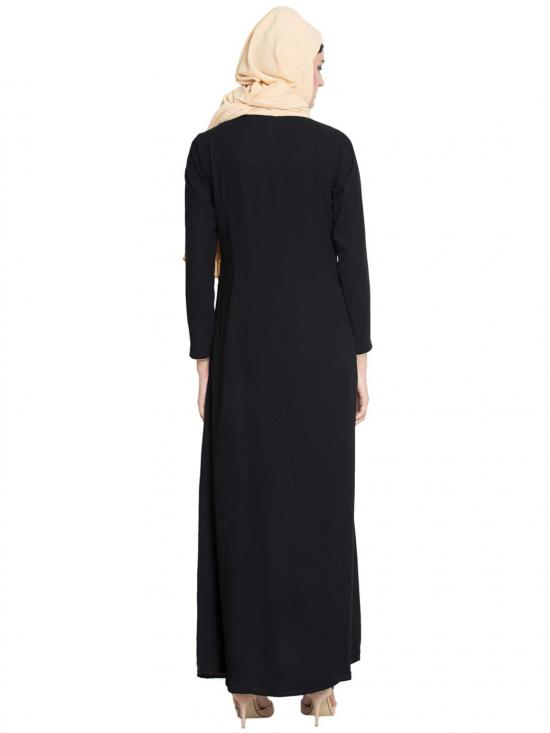 Nida Matte Aeni Gorgeous Front Open Abaya With Embroidery And Loop Bottons in Black
