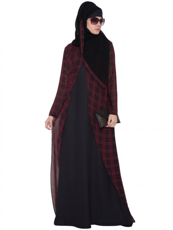 Nida Matte Double Layered Abaya In Black And Maroon