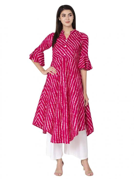 Aania Striped Pure Cotto A-line Kurti In Pink