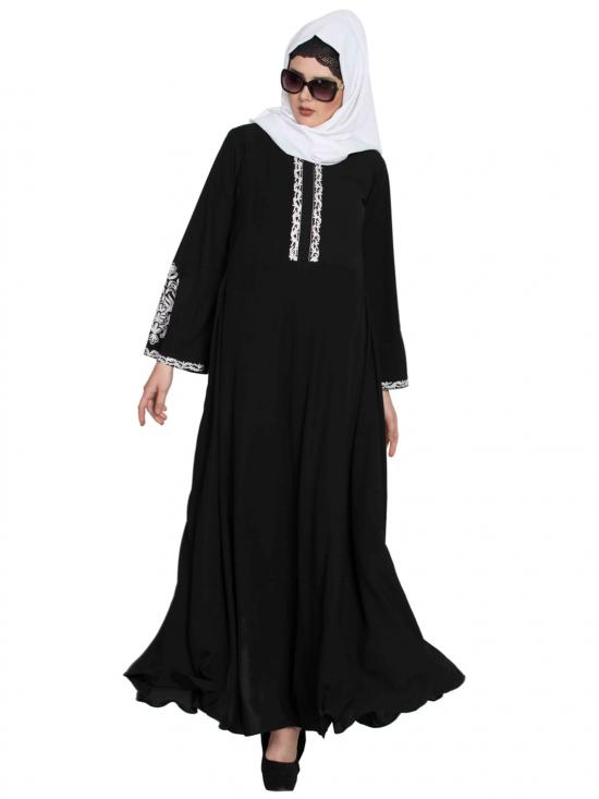 Nida Matte Embroidered Abaya with Flared Bottom in Black