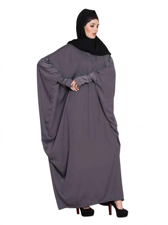 Nida Satin Designer Kaftan with Trendy Sleeves in Grey