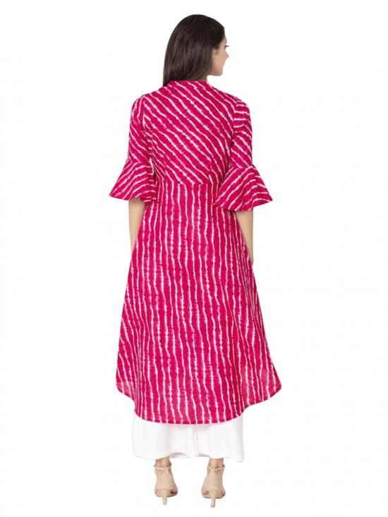 Aania Striped Pure Cotton A-line Kurti In Pink
