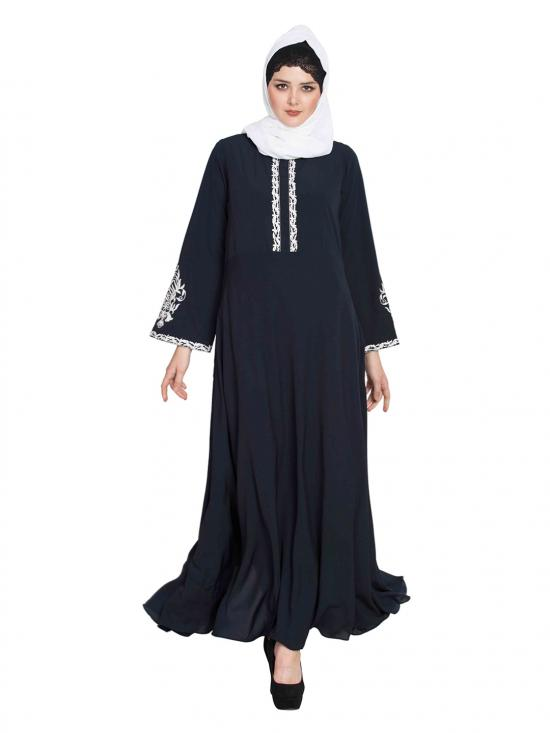 Nida Matte Embroidered Abaya with Flared Bottom in Navy Blue