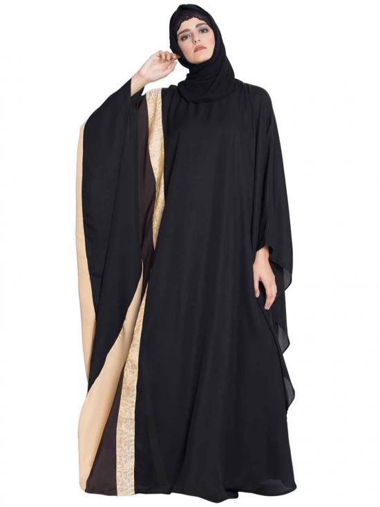 Premium Nida Sabat Kaftan Abaya In Black And Multi Colour