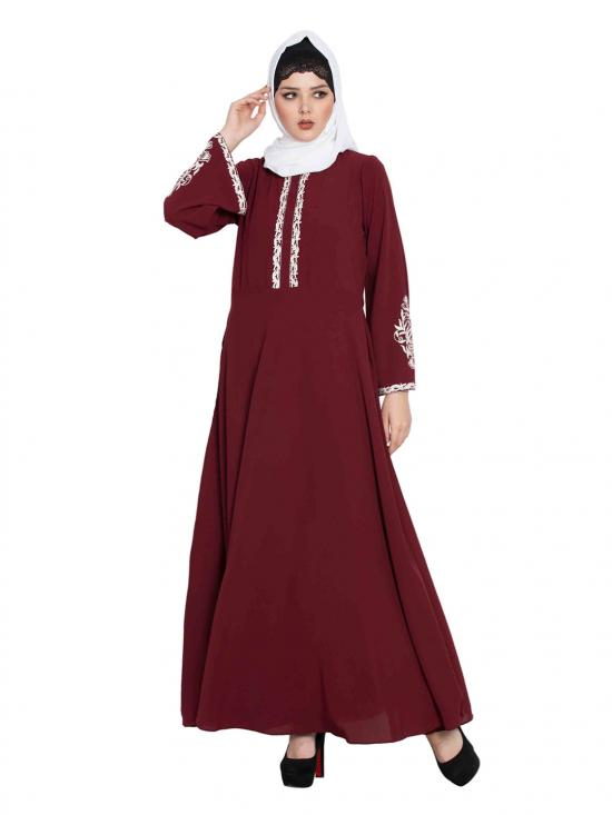 Nida Matte Embroidered Abaya with Flared Bottom in Maroon