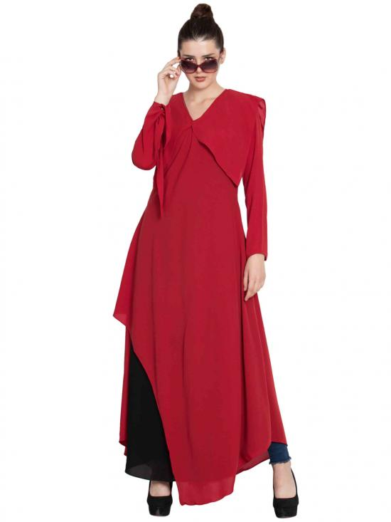 Nida Mate Elegant Abaya With Contrast Asymmetrical Layer In Red And Black