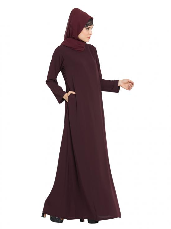 Nida Matte Simple A Line Abaya with Side Pockets in Wine