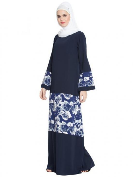Nida Matte Floral Patched Abaya In Blue And White