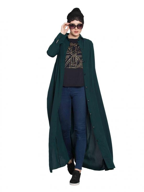 Nida Mate Front Open Abaya with Box Pleates in Bottle Green