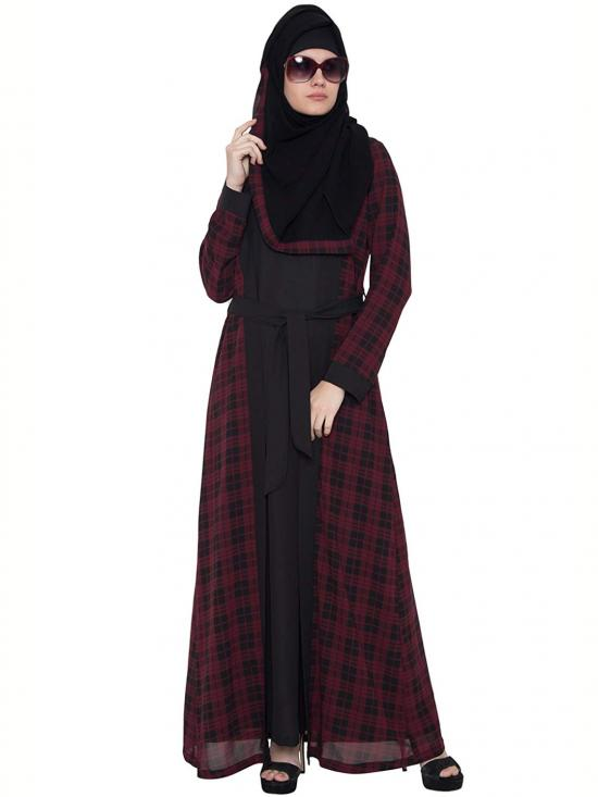 Nida Matte Double Layered Shrug Abaya In Black And Maroon