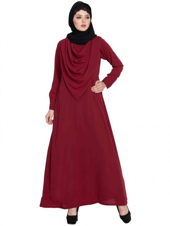 Nida Mate Modest Abaya With Attached Shawl In Maroon